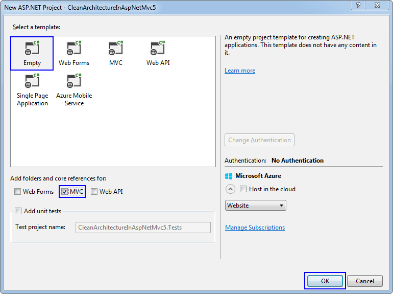New ASP.NET Project dialog box